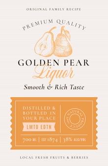 Receta familiar etiqueta de acohol de licor de pera. diseño de embalaje abstracto.
