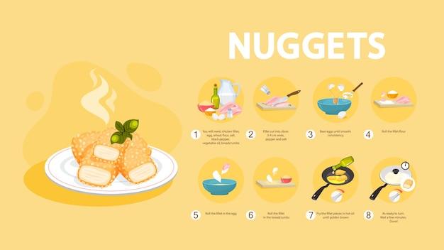 Receta de nuggets de pollo para cocinar en casa.