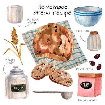 Receta de pan casero en acuarela