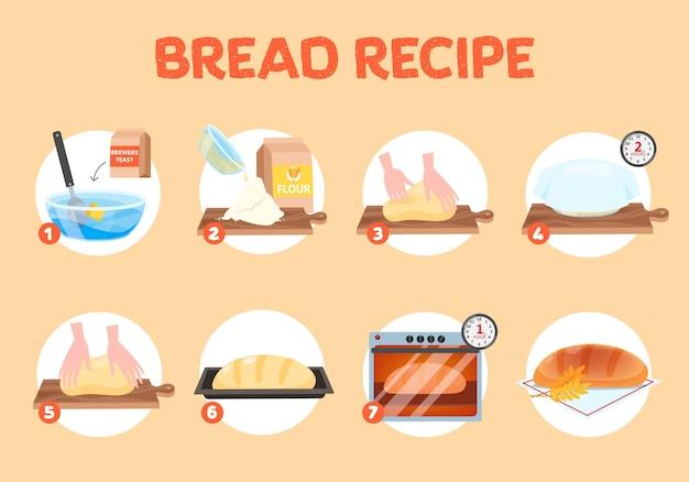 Receta de pan casero para hornear. harina y levadura