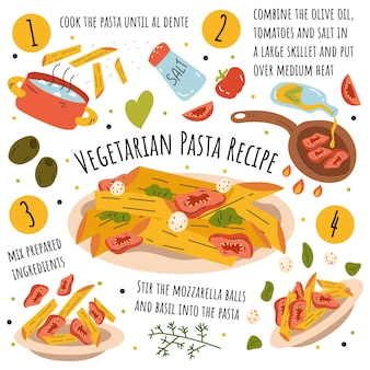 Receta de pasta vegetariana dibujada a mano