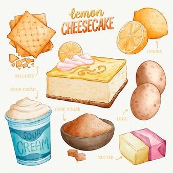Receta de pastel de queso con limón dibujado a mano