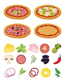 Receta de pizza italiana. cocinar pizza con ingredientes