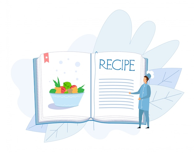 Receta de plato de verduras en el libro de cocina