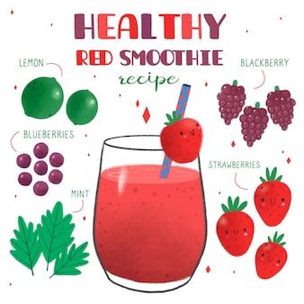 Receta saludable de batido de fresas rojas