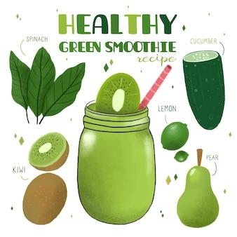 Receta saludable de batido de frutas y verduras verdes