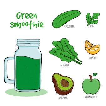 Receta saludable de batido verde