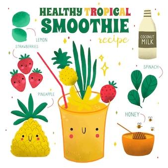 Receta saludable de licuado de frutas tropicales