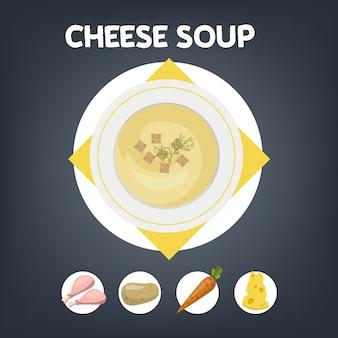 Receta de sopa de queso para cocinar en casa.