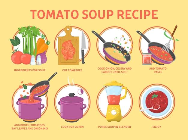 Receta de sopa de tomate. cocinar comida sabrosa en casa