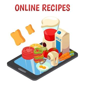 Recetas culinarias en línea isométricas