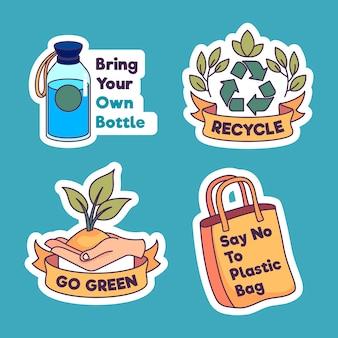 Rechazar plástico y reciclar colección de insignias ecológicas