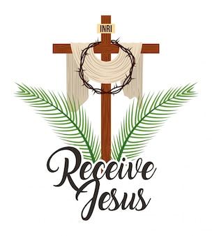 Recibe a jesús cruz sagrada y corona de espinas.