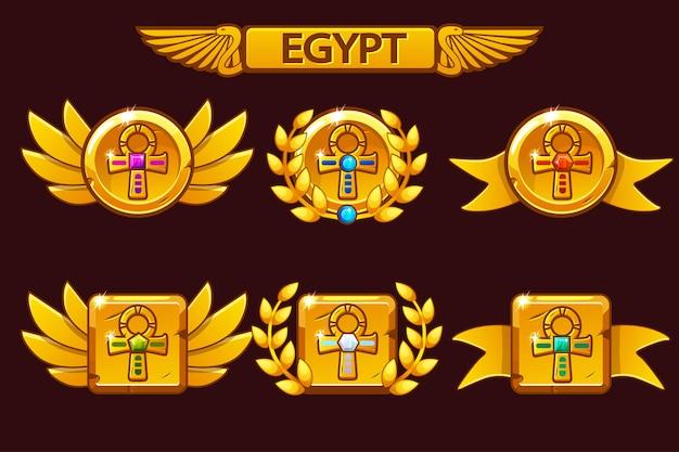 Recibiendo el logro del juego de dibujos animados. premios egipcios con el símbolo de la cruz dorada ankh. para juegos, interfaz de usuario, banner, aplicación, interfaz, tragamonedas, desarrollo de juegos.