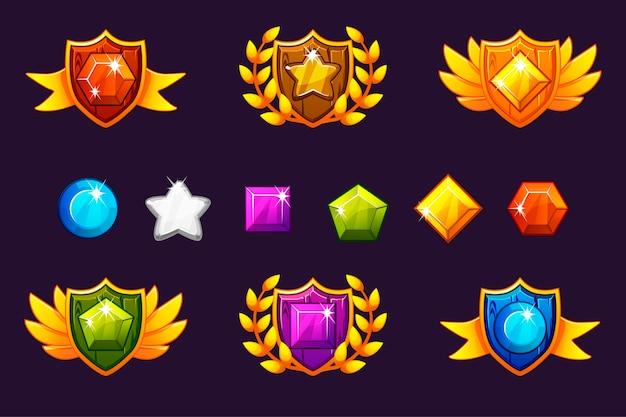 Recibiendo premios por logros conjunto de escudo y gemas, diferentes premios.