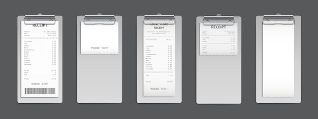 Recibo de efectivo en el portapapeles, factura de factura de compra, cheque de suma minorista de compras de supermercado y pago de venta de tienda de costo total, vacío y lleno aislado en blanco. conjunto de vectores 3d realista