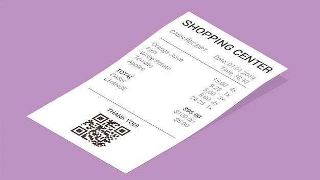 Recibo de tienda isométrica, factura de pago en papel