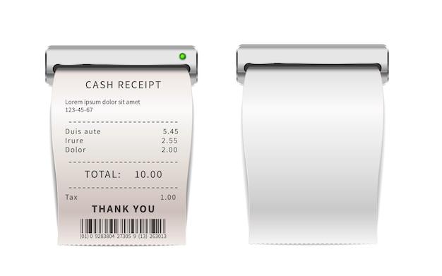 Recibos de ventas realistas que salen de la máquina de impresión, facturas de compras blancas. cheques financieros de papel en blanco