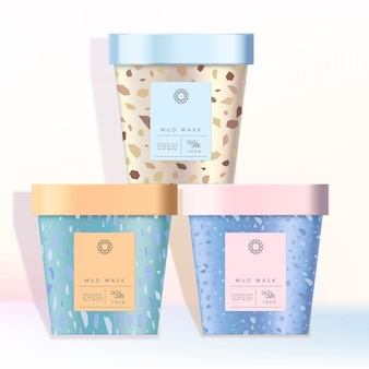 Reciclable helado taza de papel jarra jarra para comida merienda cosméticos cuidado de la piel cuidado de la salud niño niños juguetes productos patrón de mármol