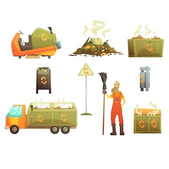 Reciclaje de residuos y eliminación de objetos relacionados alrededor del recolector de basura hombre conjunto de iconos brillantes de dibujos animados