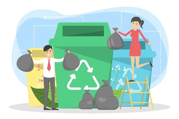 Reciclar el concepto. ecología y cuidado del medio ambiente. idea de basura