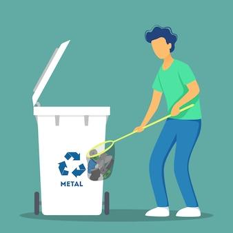 Reciclar el concepto. ecología y cuidado del medio ambiente. idea de reutilización de basura.