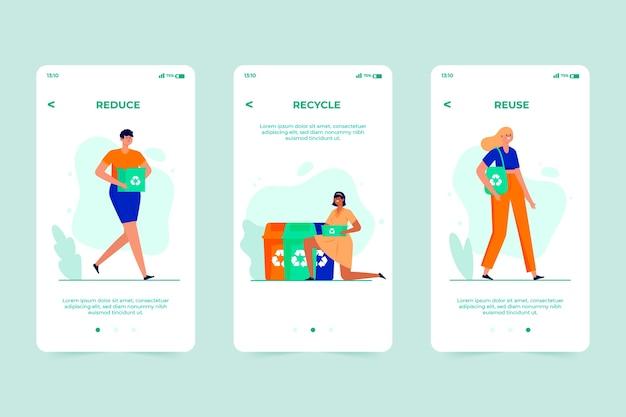 Reciclar el concepto de pantalla de la aplicación de incorporación