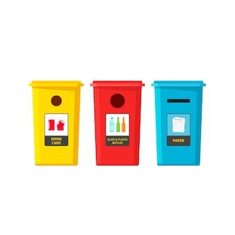 Reciclar contenedores de basura en blanco