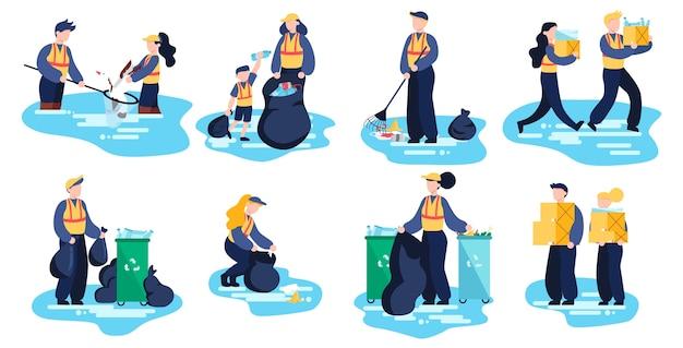 Reciclar . ecología y cuidado del medio ambiente. idea de reutilización de basura.