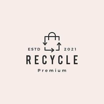 Reciclar logo vintage de hipster de bolso de compras
