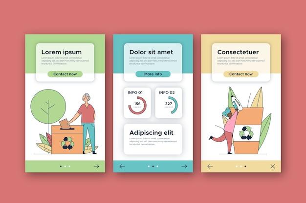 Reciclar plantilla de pantallas de aplicaciones de incorporación