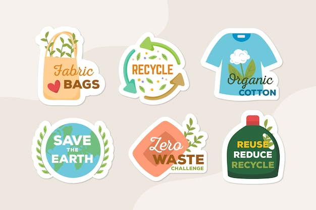 Reciclar y usar insignias ecológicas de artículos naturales