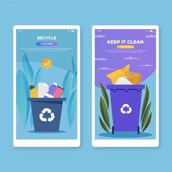Recicle y manténgalo limpio pantallas de aplicaciones móviles