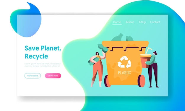 Recicle la página de destino de la basura plástica de la clasificación.