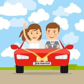 Recién casado en coche rojo.
