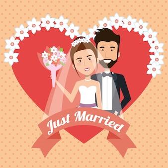 Recién casado pareja con corazones avatares personajes.