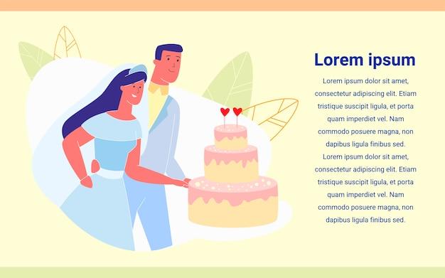 Recién casado pareja feliz cortando pastel festivo