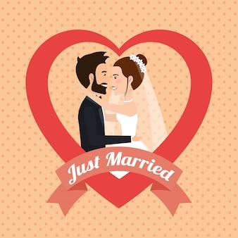 Recién casados besándose personajes avatares