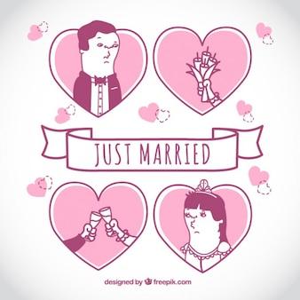 Recién casados, ilustración rosa