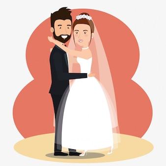 Recién casados pareja bailando avatares personajes