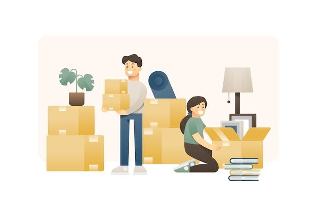 Recién casados que se mudan a una nueva casa