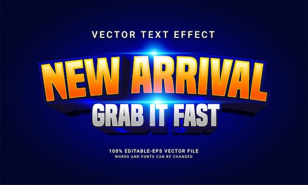 Recién llegado, tómalo, efecto de estilo de texto editable rápido con tema de promoción de venta