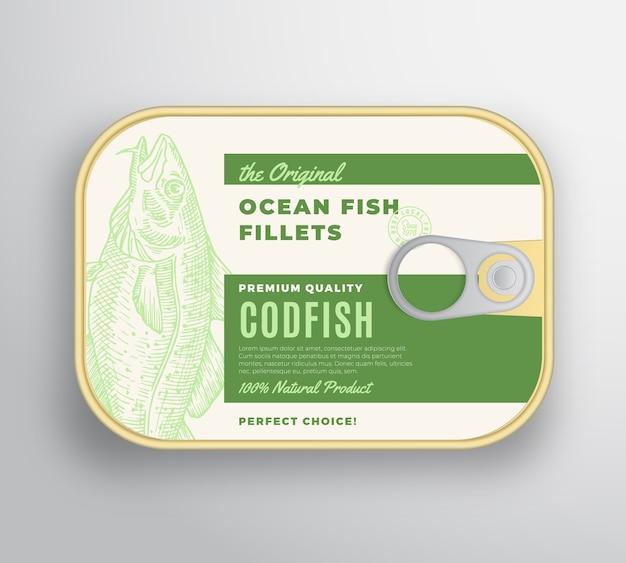 Recipiente de aluminio de filetes de pescado abstracto del océano con tapa de etiqueta. envases enlatados premium.