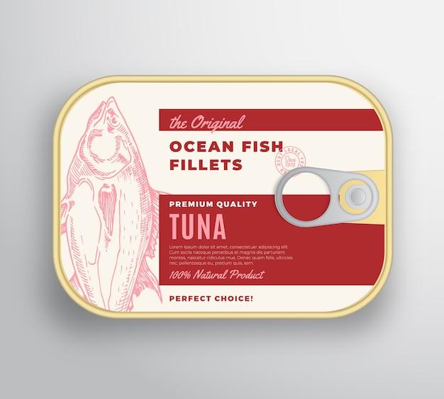Recipiente de aluminio de filetes de pescado abstracto del océano con tapa de etiqueta.