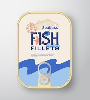 Recipiente de aluminio para filetes de pescado con tapa de etiqueta.