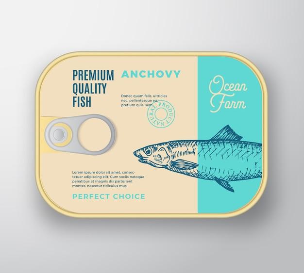 Recipiente de aluminio de pescado abstracto con tapa de etiqueta.