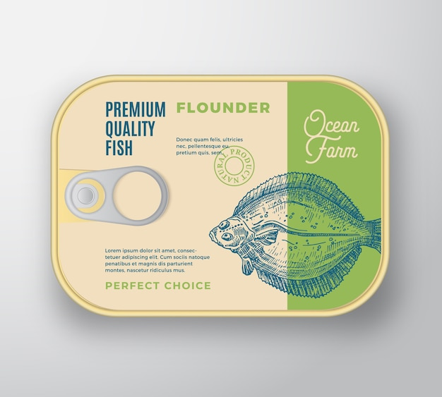 Recipiente de aluminio plano abstracto de pescado con tapa de etiqueta.