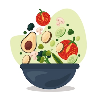 Recipiente con frutas y verduras frescas, comida sana, diseño de ilustraciones de iconos