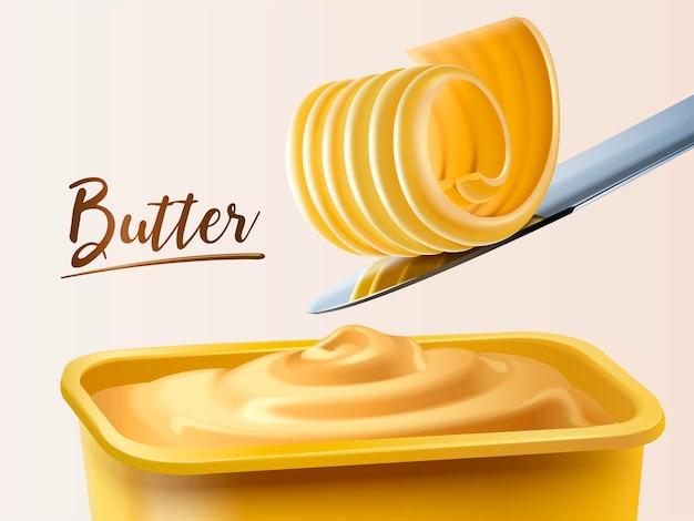 Recipiente de mantequilla cremosa, mantequilla rizada en un cuchillo