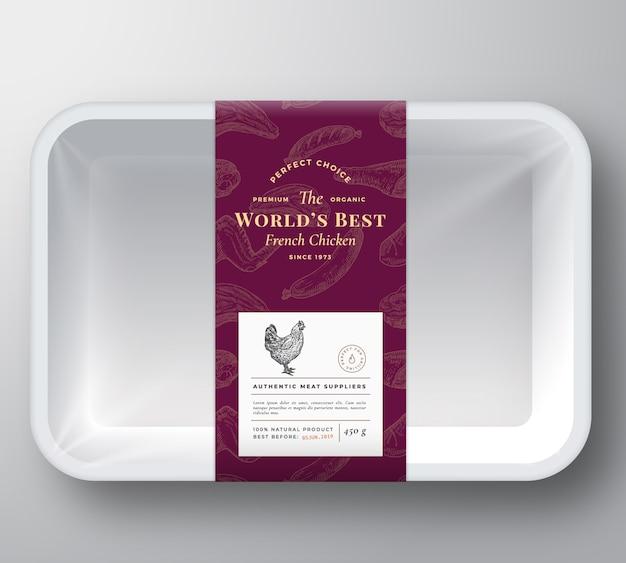 Recipiente de plástico para carne de aves de corral